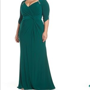 Plus size green evening gown